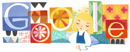 Google Logo: Mary Blair's 100th Birthday, american illustrator known for her works at Disney Studios.