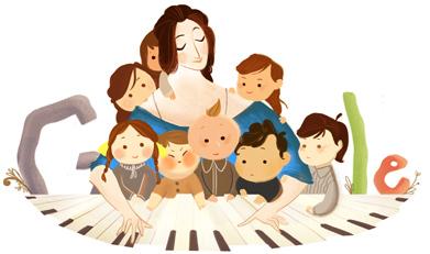 Google Logo: Clara Schumann's 193rd Birthday - German pianist and composer
