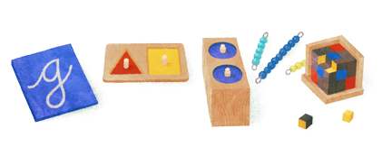Google Logo: Maria Montessori's 142nd Birthday - Italian physician and educator known for the philosophy of education that bears her name
